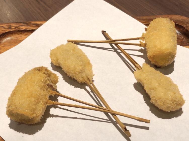 数の子とズッキーニの豚バラ巻き@串揚げと和食 もりもと 浜松町