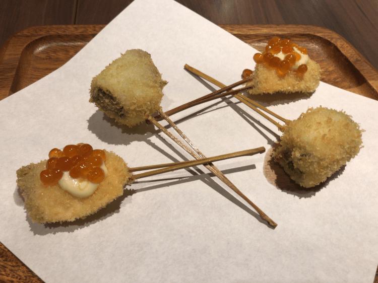 しゃけいくらと菜の花 と 鯛@串揚げと和食 もりもと 浜松町