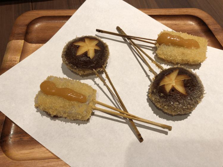 椎茸と子持ち蒟蒻@串揚げと和食 もりもと 浜松町