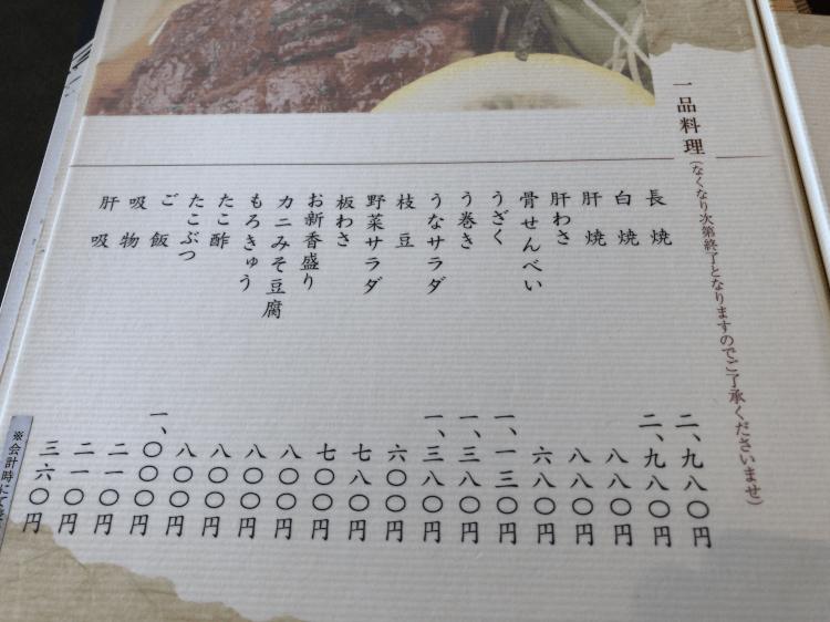 ひつまぶし名古屋備長 マロニエゲート銀座1店の店内一品料理メニュー
