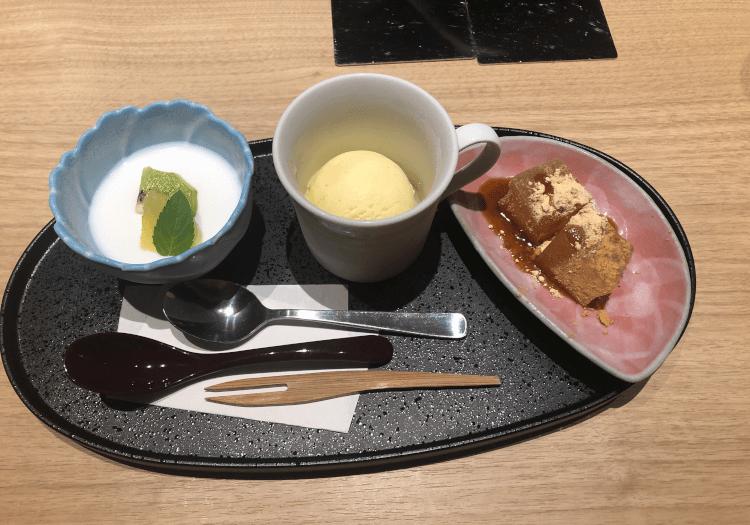 わらび餅・杏仁豆腐・アイス@肉割烹 吟次郎 品川