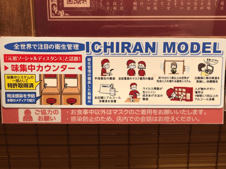 ICHIRAN MODEL の説明書き