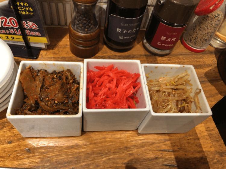 辛子高菜、紅生姜、ホットもやし@一風堂 銀座店