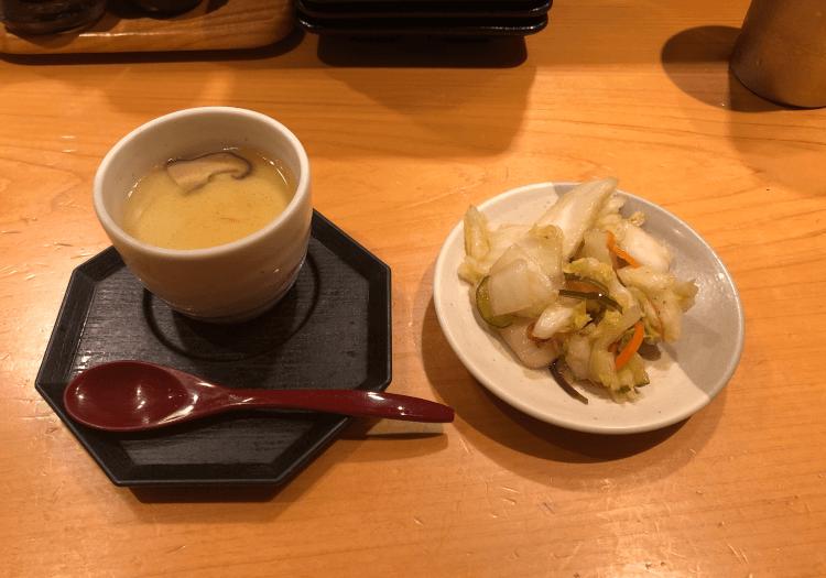 茶碗蒸しとお漬物@天丼専門 銀座いつき