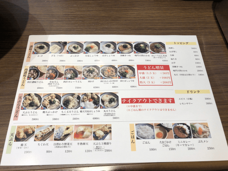 神田 肉讃岐 甚三うどんの店内にあったメニュー