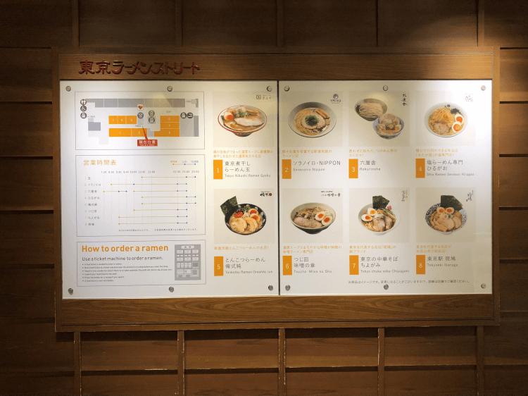 東京ラーメンストリートの店舗と地図