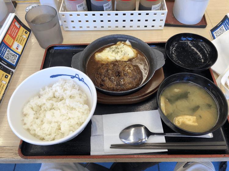 黒毛和牛100%ハンバーグ定食@松屋 東大井町店