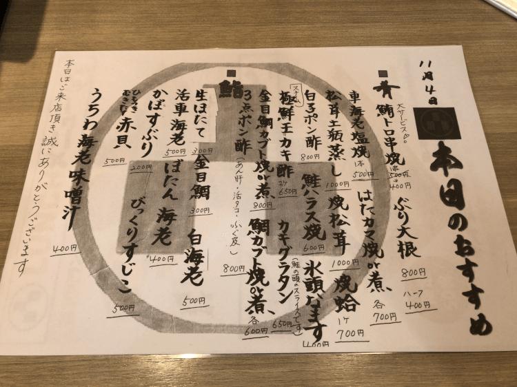 寿司の美土里 本日のおすすめメニュー