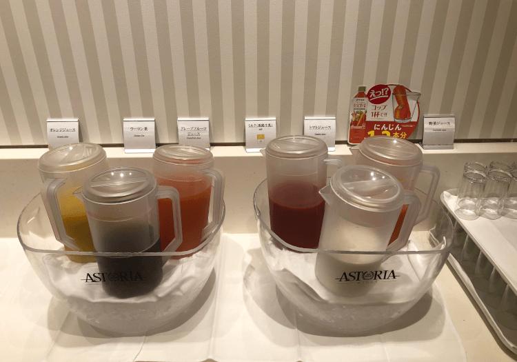 神戸三宮 ホテルモントレの朝食バイキング ドリンク