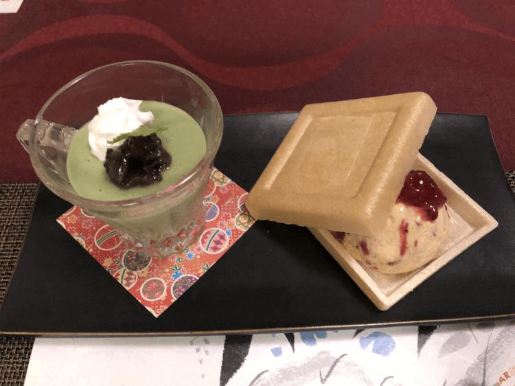 抹茶豆乳プリン 苺アイス@創作料理 櫻 銀座