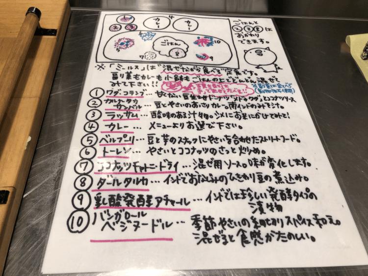 田町 ゼロワンカレーA.o.Dのミールス 説明書き