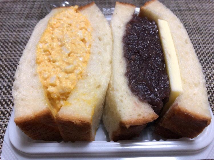 「俺のベーカリー」のミックスサンドイッチ 小倉バターサンドイッチと奥久慈卵のたまごサンド