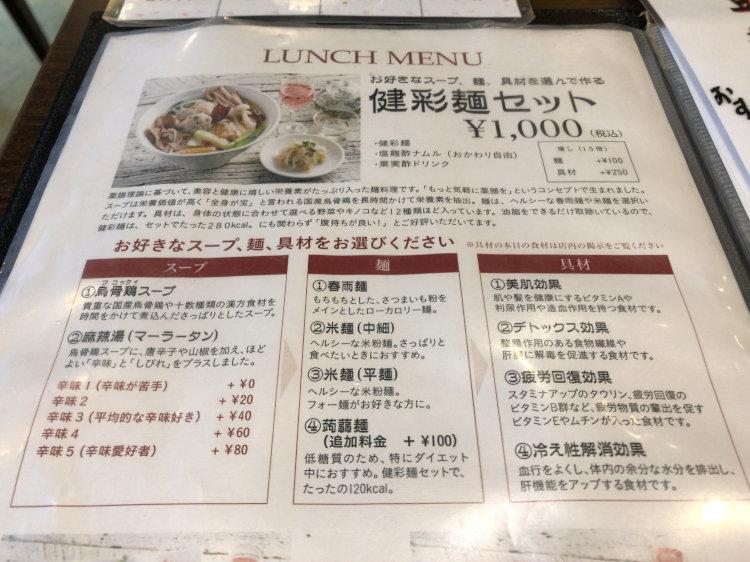 ZEN ROOMの健彩麺セット の説明書きと選択できるスープ・麺・具材